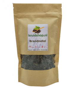 Brandnetel heeft als werkzame stoffen o.a. looistoffen, netel gif in de brandharen, histamine, acetylcholine, mierenzuur, vitamine A en C Verpakt per 50 gram in handige stazak