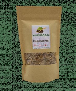 Engelwortel, de wortel is wat voornamelijk gebruikt wordt voor de kruidenthee. De werkzame stoffen zijn vooral de etherische oliën, bitterstoffen en looistoffen. Verpakt per 100 gram in handige stazak