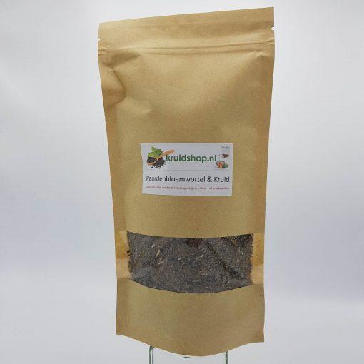 Paardenbloem wortel met kruid de werkzame stoffen zijn o.a. enzymachtige stoffen, saponine,looistof, mineralen en sporenelementen en vitamines..