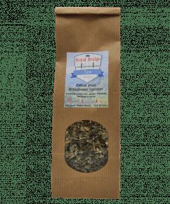 Detox brandnetel en gember thee is een gezondheidsthee op basis van natuurlijke ingrediënten. 100% natuurlijk middel zonder kleur-, geur- en smaakstoffen.