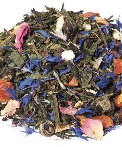 Blue Lagoon BIO, is een smaakvolle biologische thee op basis van groene thee Sencha en Jasmijn thee. Ook dit is natuurlijk een Biologische thee.