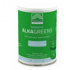 Probiotic AlkaGreens poeder is samengesteld uit o.a. Kiemgrassen die Chlorofyl bevatten, Vezelrijk Groenten- en Fruit en Pre- en Probioticum.