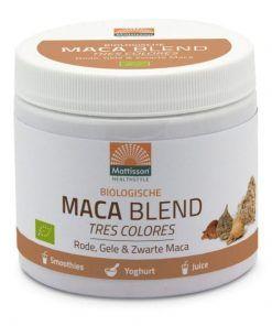 Maca Blend Red-Yellow-Black Maca is een biologisch product, Geen suiker of zoetstof toegevoegd,
