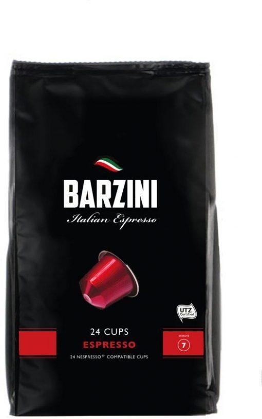 Barzini Espresso 24 cups, hoogwaardige koffie, geschikt voor Nespresso© apparaten.De gebruikte koffie beschikt over een UTZ keurmerk.