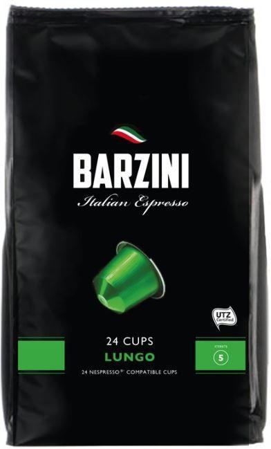 Barzini Lungo 24 cups, hoogwaardige koffie, geschikt voor Nespresso© apparaten.De gebruikte koffie beschikt over een UTZ keurmerk.