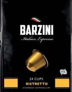 Barzini Ristretto 24 cups, hoogwaardige koffie, geschikt voor Nespresso© apparaten.De gebruikte koffie beschikt over een UTZ keurmerk.