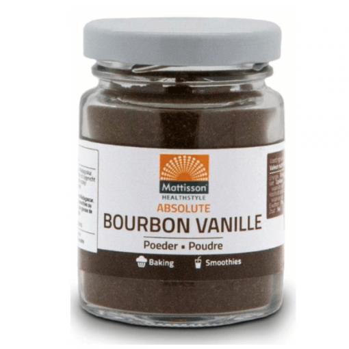 Bourbon Vanille Poeder uit Madagaskar. Heerlijk om gebak, smoothie of nagerecht mee te verrijken. Een vanille stokje vervangen door 2,5 g poeder.