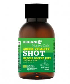 Organic Matcha Shot. Matcha bevat voedingsstoffen van het hele theeblad, wat resulteert in een grote hoeveelheid cafeïne en antioxidanten.Het verbetert de aandacht, het geheugen en de reactiesnelheid.