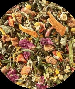 Hennep thee Deze frisse en delicaat zoete combinatie is zo kleurrijk als een boeket zomerbloemen en zal je overtuigen zonder toegevoegde smaakstoffen.