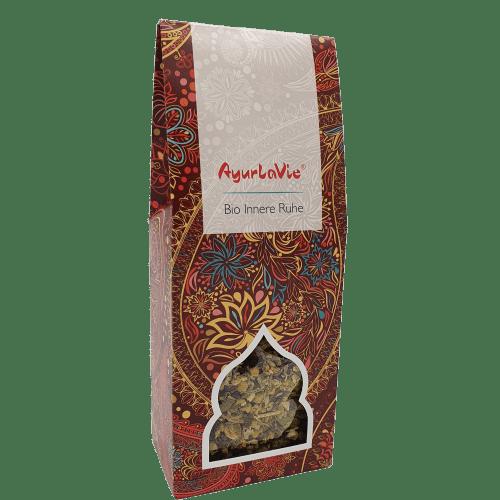 """Innerlijke Rust AyurLaVie. Rust en ontspanning brengt ons de kracht in het leven. Pak uw eigen rustmoment met de AyurLaVie® """"Innerlijke Rust"""" thee. verpakt per 150 gram"""