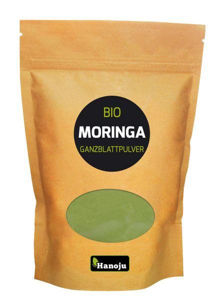 BIO Moringa heelblad poeder 500 gram. Zuiver biologisch Moringa poeder met voedingstoffen van gesneden Moringa bladeren.