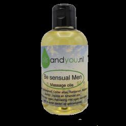 Be Sensual Men Massageolie. Sandelwood, Ceder atlas, Kardamon, Basilicum Jasmijn, Jojoba en Amandel olie.