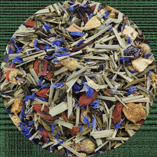 Deze thee is een combinatie van ingrediënten met een hoog gehalte aan vitamine C, anti oxidanten, mineralen en aminozuren. In de afdronk is het is een heerlijke frisse groene thee met een vleugje Citrus. Naast warm kan deze thee, na afkoelen, ook goed koud gedronken worden.
