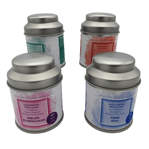 Geschenk box Soul Pleasure met 4 blikjes thee in een leuk decor. Een perfect cadeau voor de thee liefhebber. 4 heerlijke smaken om uit te proberen.