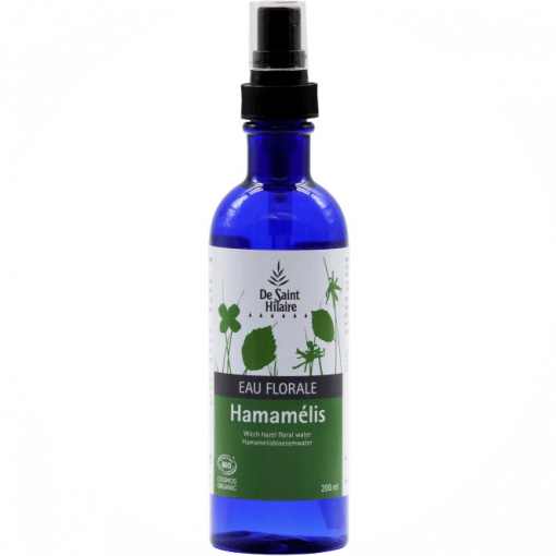 Biologisch Hamamelis (toverhazelaar) hydrolaat (bloemenwater) wordt aanbevolen voor de gevoelige huid en roodheid. Verpakt in een kunststof fles met verstuiver, inhoud 200ml