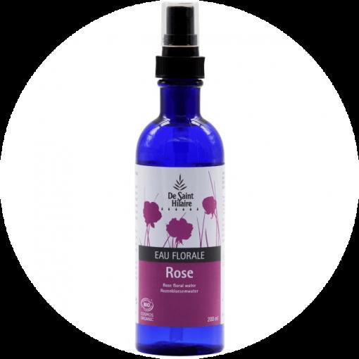 Hydrolaat Roos Biologisch, rozenwater dat wordt gebruikt om het gezicht te stimuleren en de poriën te verstevigen. Kunststof fles van 200ml met verstuiver