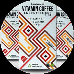 Vitamin Coffee Energy Focus Fairtrade koffie Vitamine B1, B2 en B12 Superfoods Guarana en MCT Nespresso® compatible Verpakt per 10 stuks in een kartonnen doosje.