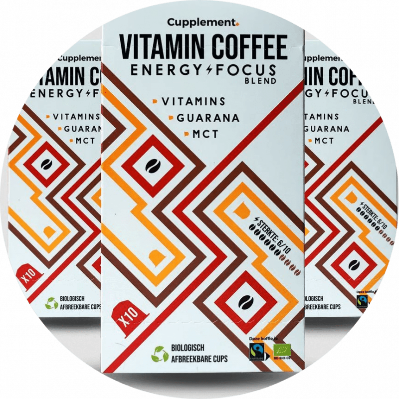 Vitamin Coffee Energy Focus Fairtrade koffie Vitamine B1, B2 en B12 Superfoods Guarana en MCT Nespresso® compatible Verpakt per 10 stuks in een kartonnen doosje.