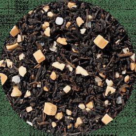 Zwarte thee Salty Caramel. Smeltend gladde karamel verrijkt met een vleugje zout: gewoon hemels!