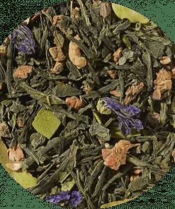 Groene thee melange Matcha Een plek van rust en reflectie. Dit was het idee achter deze lichtgroene theemelange, afgerond met aangenaam fruitige tonen van perzik en de licht romige tonen van kokosnoot. Aangevuld met een vleugje groen Matcha-poeder
