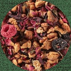 Vruchtenthee framboos kers is een heerlijke zomerse thee. De fruitige smaken van verse frambozen en zure kersen vormen samen een zomerse smaakexplosie. Verpakt per 100 gram