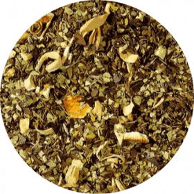 Braziliaanse Mate Thee Sinaasappel De populaire frisse smaak van fruitige, zoete sinaasappels past goed bij de matig sterke kruidige, licht rokerige Mate-thee.