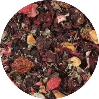 Aardbeien Framboos Thee BIO Aardbeien framboos thee is een 100% biologische thee. Het is een kleurrijke selectie van heerlijk fruit en bessen. Verpakt per 100 gram