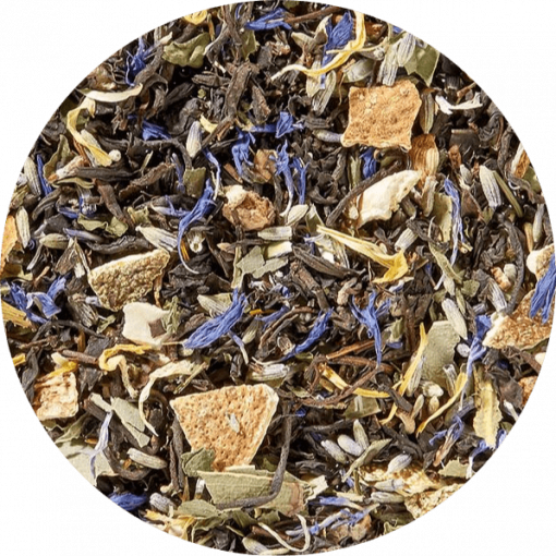 Zwarte thee Lavendel Lime Munt biologische thee, is een harmonische combinatie van blauwe lavendelbloesem, groene muntblaadjes en geeloranje citroenschil op een milde zwarte theebasis.