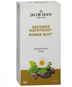 Jacob Hooy Kruidendrank Gezonde Nachtrust Een thee op basis van citroenmelisse en kamille wat bij kan dragen tot een gezonde slaap. Handig om mee te nemen of als losse thee (kruiden) niet uw ding is. 20 zakjes van 2 gram per verpakking, voldoende voor een lekkere mok thee.
