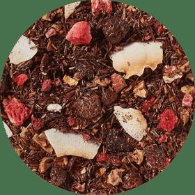 Eindelijk! We hebben de zeer populaire smaakcombinatie van aardbei en framboos met heerlijke, natuurlijke aroma's op onze milde rooibos gebracht om een harmonisch geheel te creëren. De bessentonen worden tot in de perfectie ondersteund en aangevuld door heerlijke aroma's van de fijnste kokosnoot en zoete suikerspin.